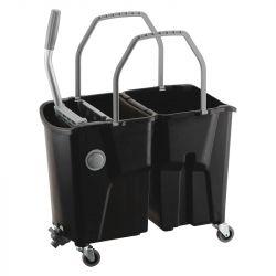 Chariot bi-bac noir avec presse à plat intégrée Clevy ICA