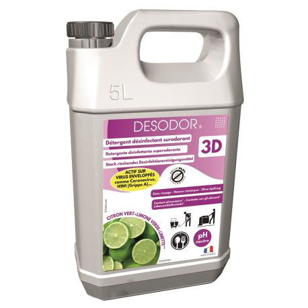Nettoyant Desodor 3D citron vert  bidon de 5 L norme EN14476
