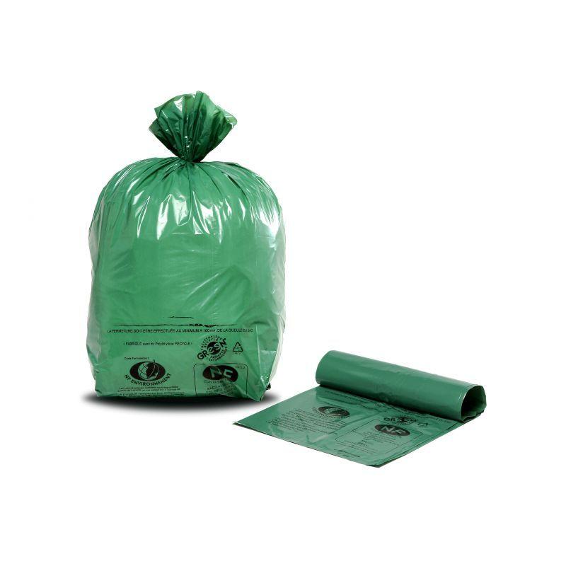 Lot de 200 sacs poubelle NF Vert Ecologique de 100L