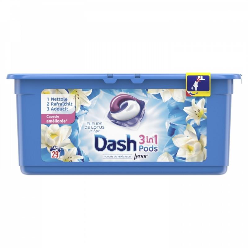 PROMO 1 +1 GRATUIT Lessive liquide en dosettes DASH 3 en 1, 29 doses