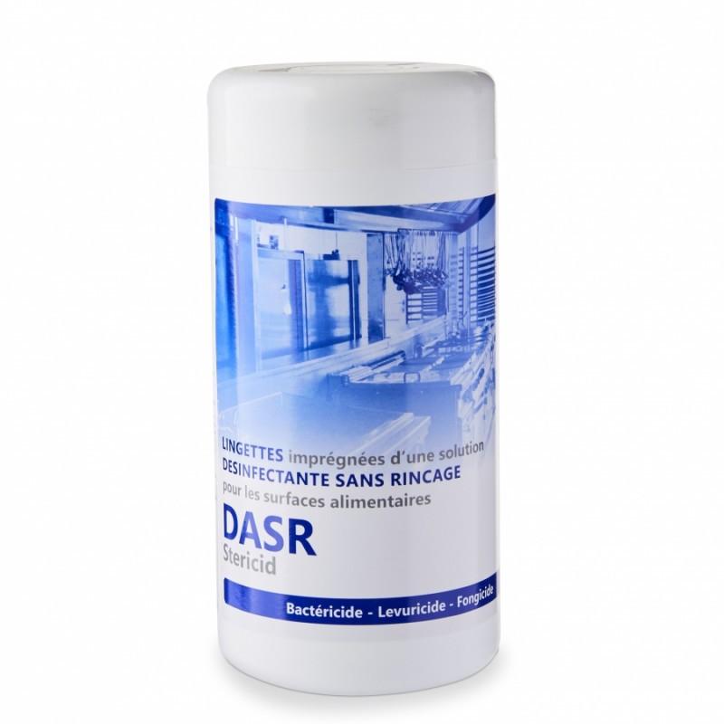 Lingettes désinfectantes surfaces alimentaires DASR, boîte 100 lingettes