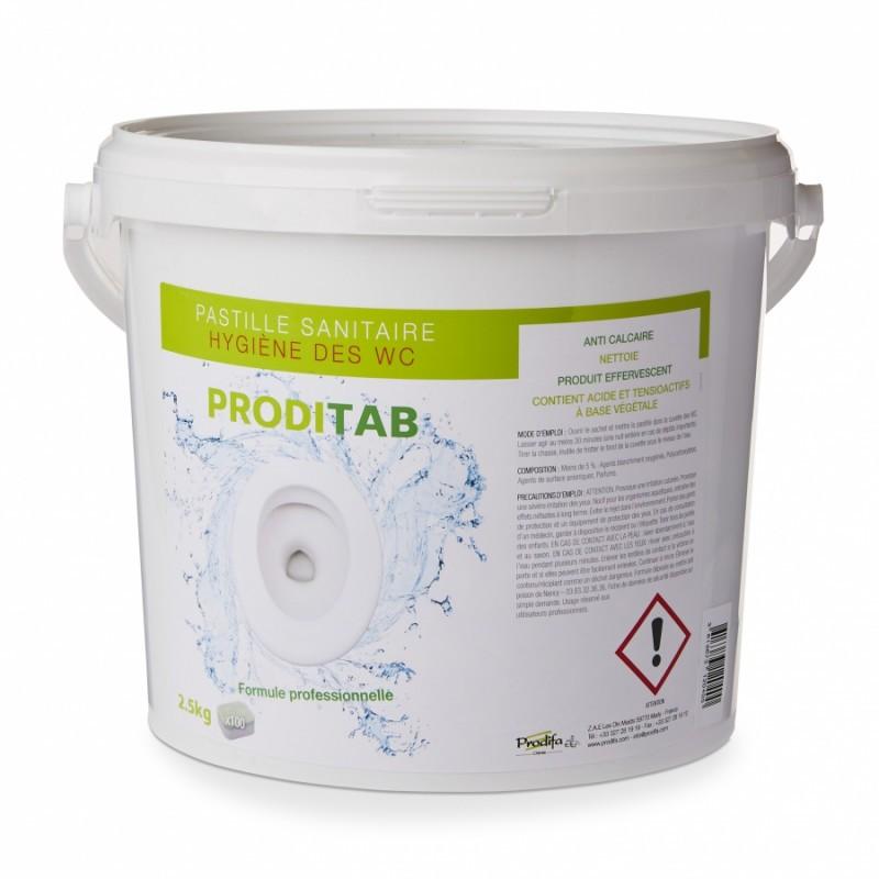 Tablettes actives pour cuvettes PRODITAB WC, par seau de 100