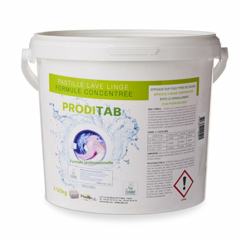 Lessive en tablettes PRODITAB concentré ECOLABEL, par 125 pastilles