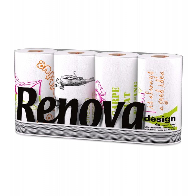 Essuie tout ménager RENOVA Design, 40 rouleaux 40 feuilles