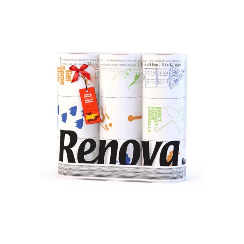 Papier toilette RENOVA DESIGN (72 rlx de 110 feuilles)