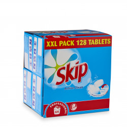2 packs Lessive Active clean - Boîte de 128 tablettes Skip + 1 offert