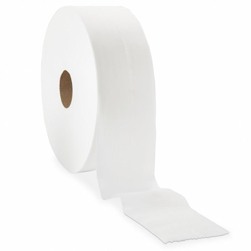 Bobine de papier toilette blanc DELCOURT 180 mètres, par 12