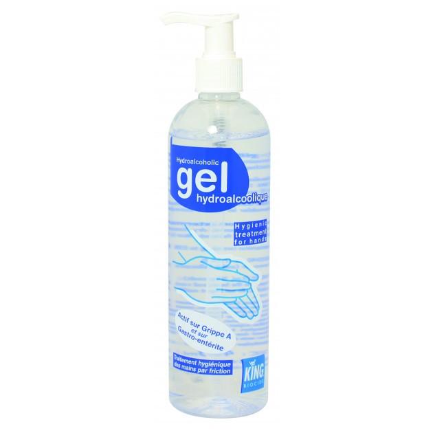 Flacon de gel hydroalcoolique EN14476 pour les mains