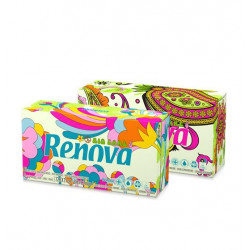 Mouchoirs jetables Ecolabel boîte distributrice de 80 Bio Care Renova - Lot de 30