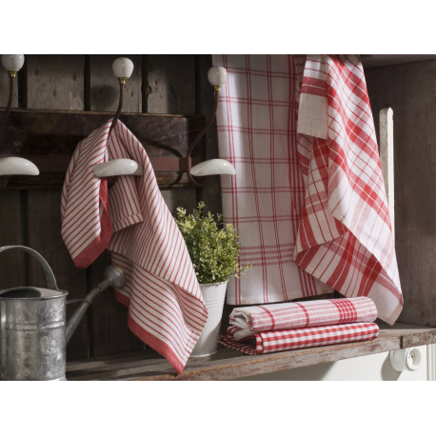 Torchon essuie-verres pur coton grand teint rouge 50 x 70  cm - lot de 10