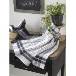 Torchon pur coton carreaux tissés jacquard noir et blanc 43 x 68  cm - lot de 20