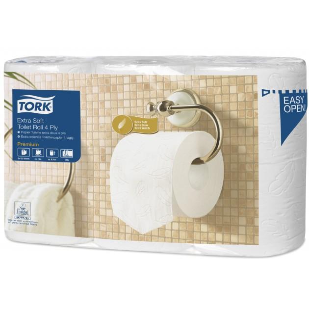 Papier toilette blanc extra doux Premium 4 plis Écolabel Tork T4 - lot de 6