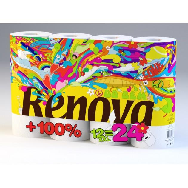 2+1 GRATUIT Papier toilette Ecolabel Renovagreen XXL Renova - colis de 60 rouleaux