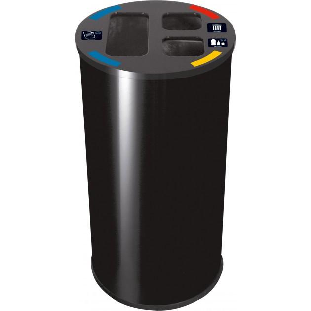 Collecteur de tri sélectif 60 L 3 compartiments Probbax Noir