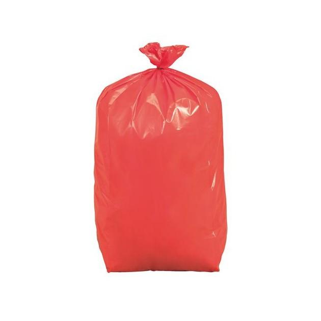 Sac poubelle recyclé NF rouge spécial tri sélectif 110 L - carton de 200