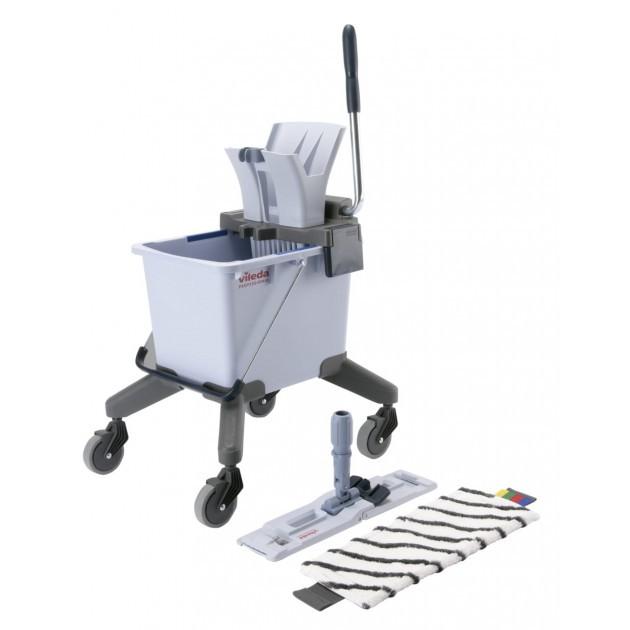 Chariot de lavage UltraSpeed Pro Single 25L Vileda + manche téléscopique 140 cm