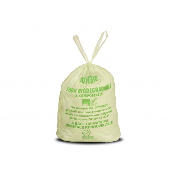 Sac poubelle biodégradable vert liens coulissants Atoubio 40 L - carton de 250