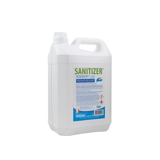 Gel hydroalcoolique norme EN14476 bidon 5 L Sanitize