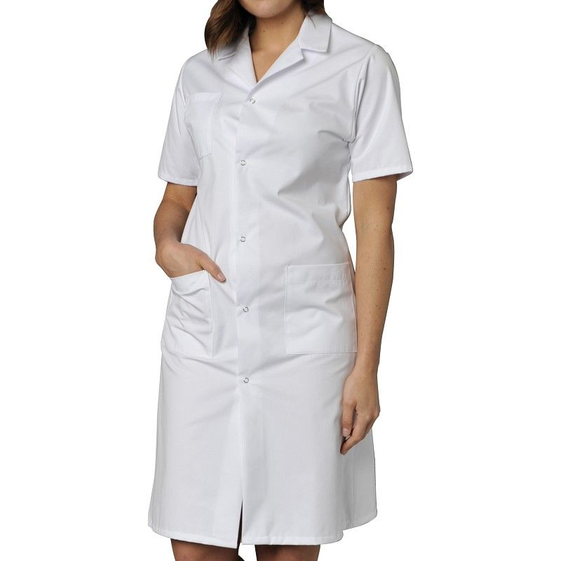 Blouses femmes polycoton manches courtes blanches