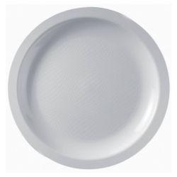 Assiettes jetables plates en plastique blanc  - lot de 100