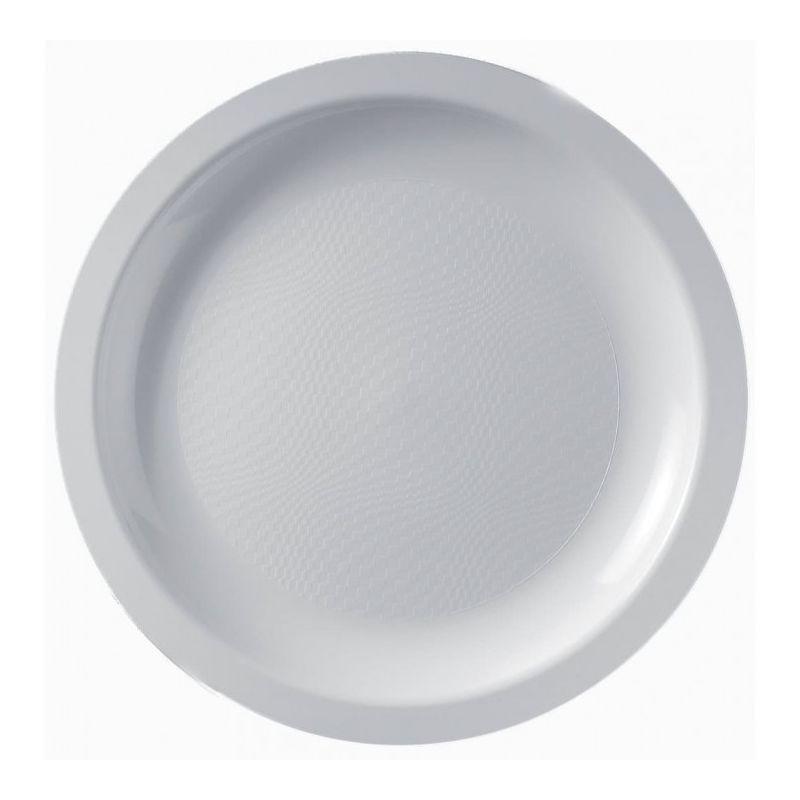 Lot de 100 Assiettes plates blanches plastique