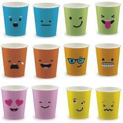 Gobelets jetables verts boissons chaudes 15 cl pour distributeur SP6 émoticônes - Lot de 100