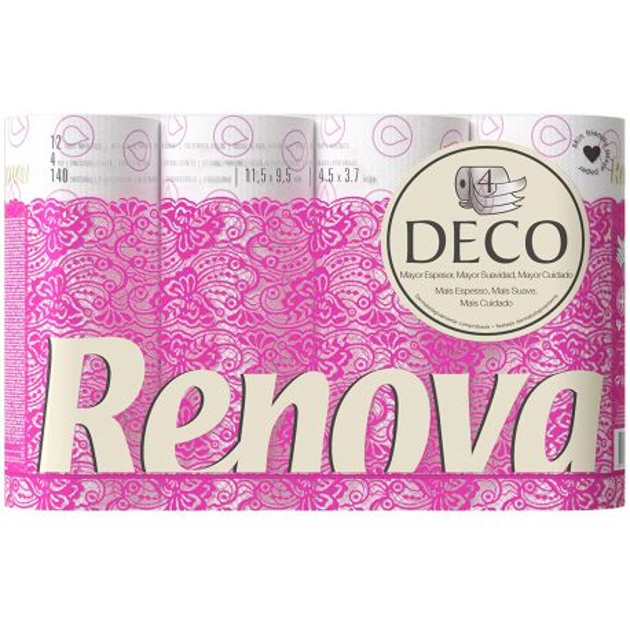 Papier toilette blanc 4 plis Déco Rénova - colis de 60 rouleaux de 140 feuilles