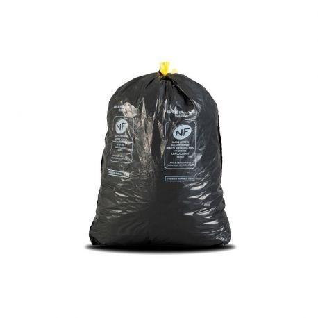Sac poubelle NF gris lien coulissant 50 L - carton de 100