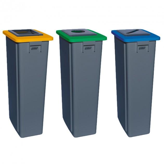Poubelle tri sélectif triple flux 3x80 L jaune bleu vert (carton, papier, verre) - collecteur gris