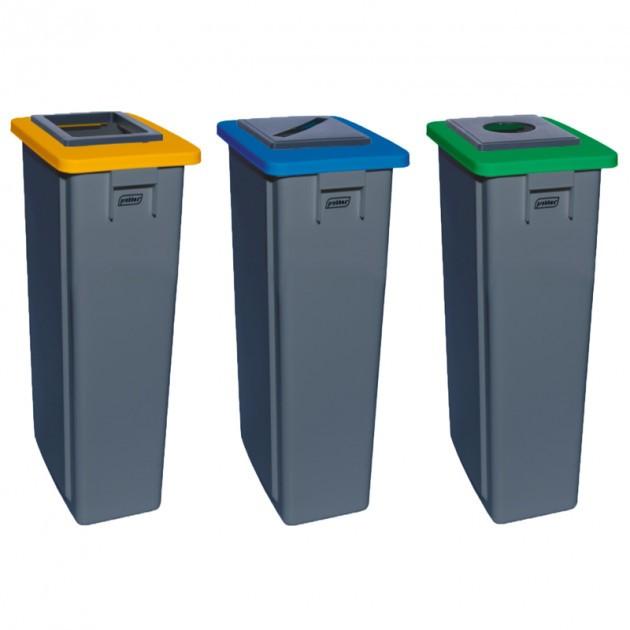 Poubelle tri sélectif triple flux 3x60 L jaune bleu vert (carton, papier, verre) - collecteur gris