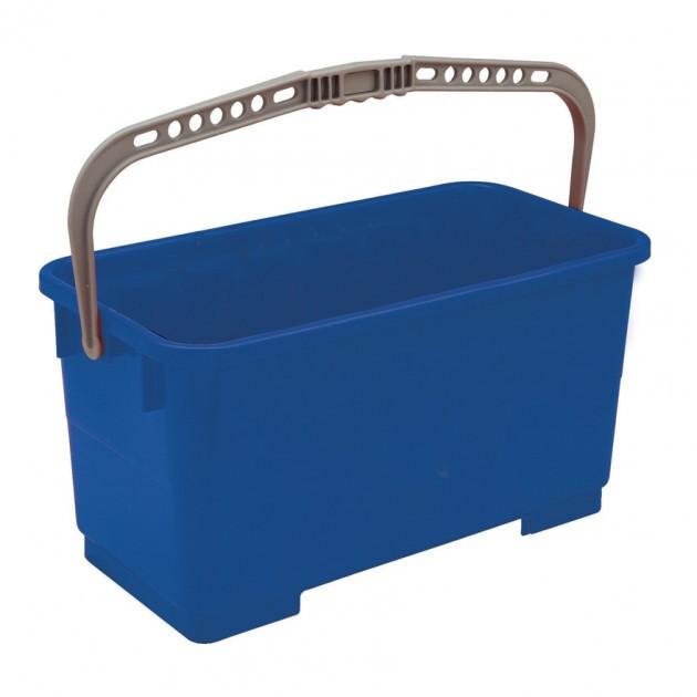 Seau de lavage pour vitres avec grille d'essorage en inox 25L - bleu