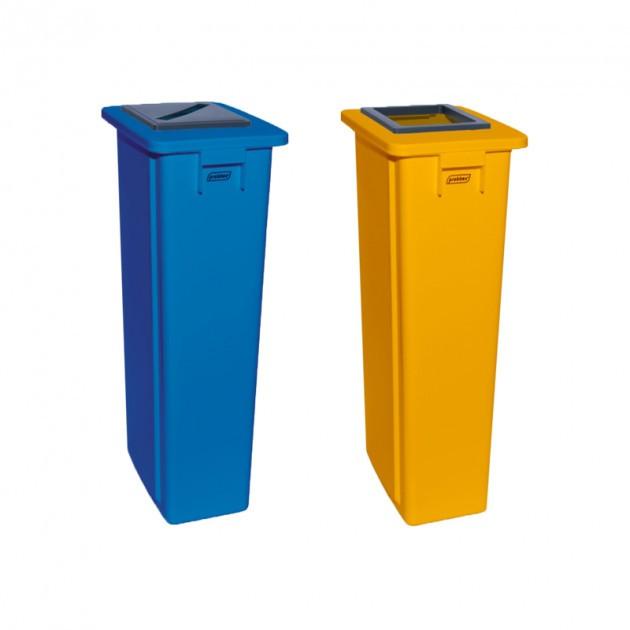 Poubelle tri sélectif bi flux bleu jaune 2x80 L - collecteur multicolore