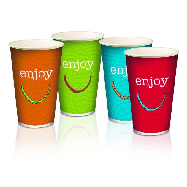 Gobelets en carton double paroi 30 cl Enjoy - Plusieurs coloris