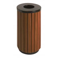 Poubelle d'extérieur ronde en métal aspect bois 40 L