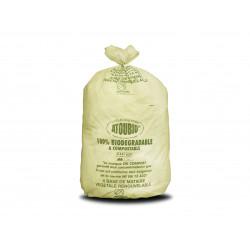 Sac poubelle biodégradable vert liens coulissants Atoubio 110 L - carton de 100