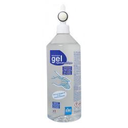 Flacon gel hydroalcoolique 1 L EN 14476 avec pompe vissée King