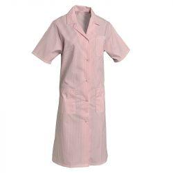 Blouses femmes polycoton manches courtes rose/blanc